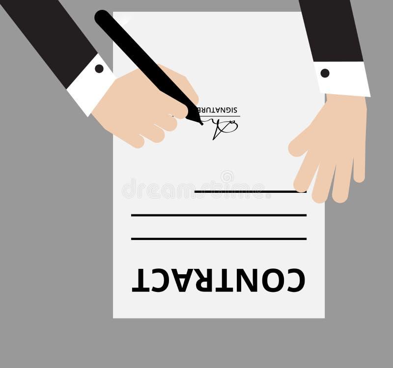 Een mens die zwarte kostuums dragen ondertekent zijn handtekening op een document van de contractvorm, keurt en sluit aan bij zak stock illustratie