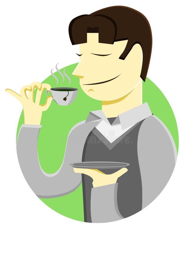 Een mens drinkt een kop thee stock foto