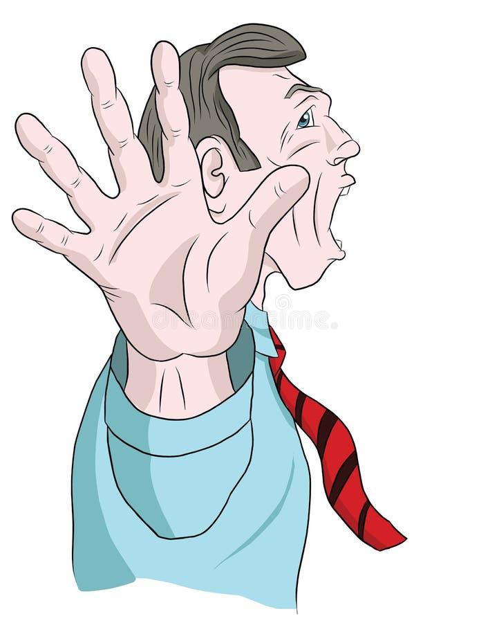 Een mens in een overhemd en een band gilt en behandelt zijn gezicht met zijn hand royalty-vrije illustratie
