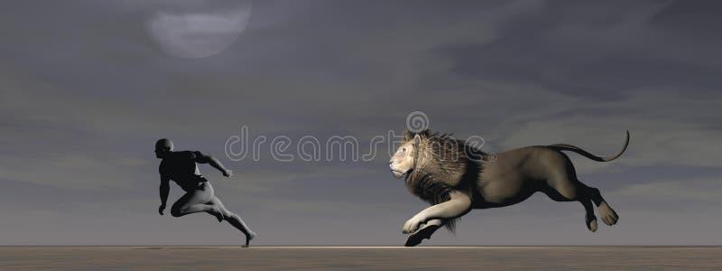 Een mens en een leeuw vector illustratie