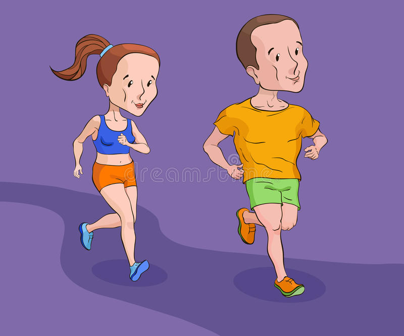 Een mens en een meisje die op spoor lopen stock foto