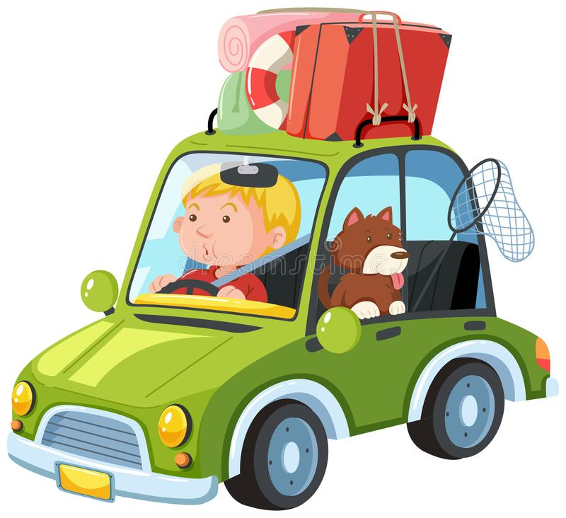 Een Mens gaat op Wegreis met Hond vector illustratie