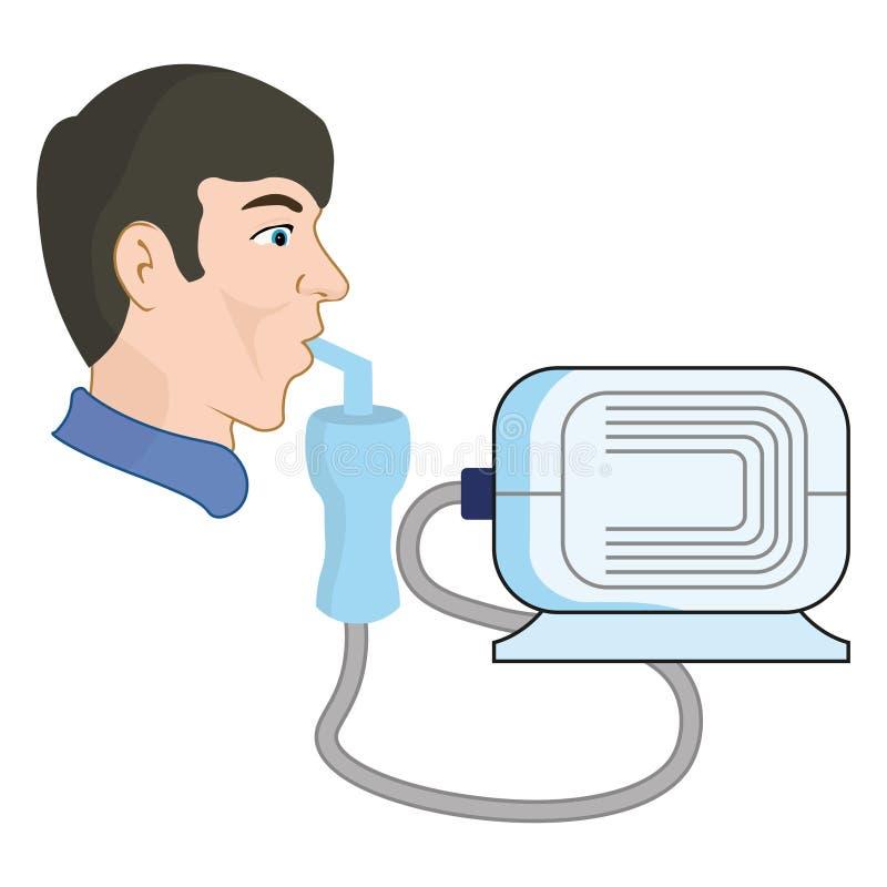 Een mens gebruikt een verstuiver, van astma en ademhalingsziekten royalty-vrije illustratie