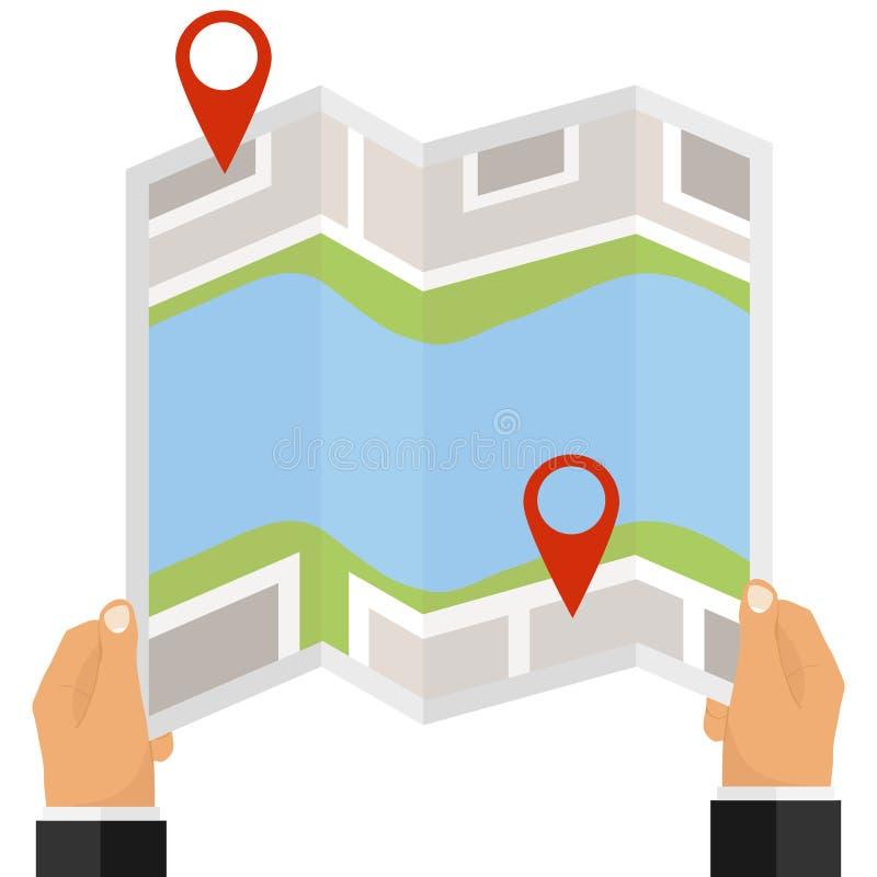 Een mens houdt een kaart met een bestemming in zijn handen Rood teken op de kaart, plaats vector illustratie