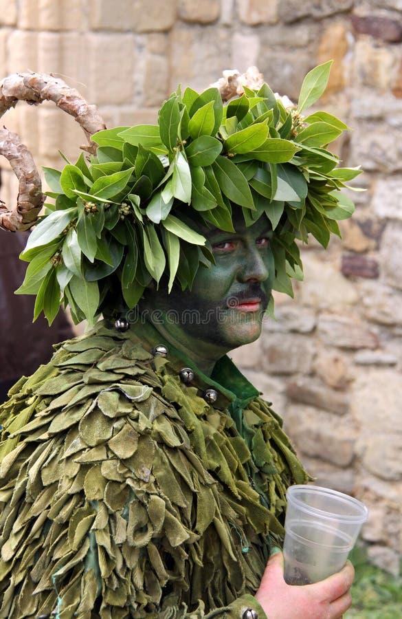 Een mens in Jack in het Groene Festival stock afbeeldingen