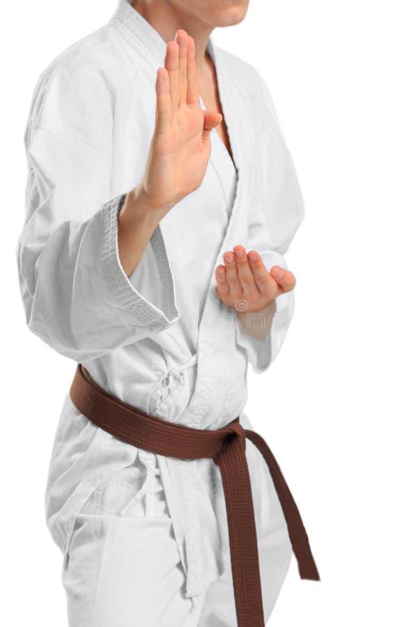 Een mens in een kimono in een het vechten houding op een geïsoleerde witte achtergrond stock afbeelding