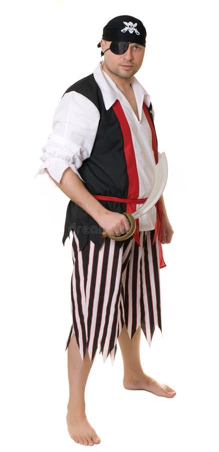 Een mens kleedde zich als piraat stock fotografie