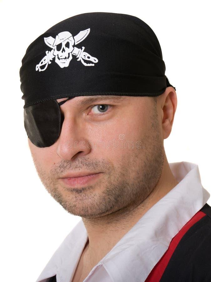 Een mens kleedde zich als piraat royalty-vrije stock foto's