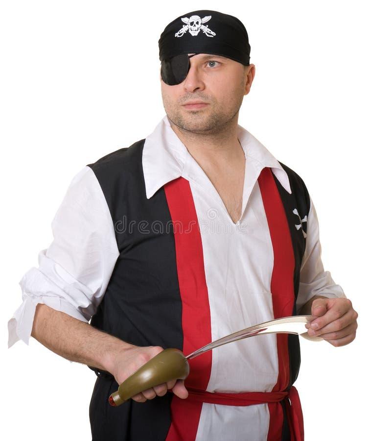 Een mens kleedde zich als piraat stock foto's