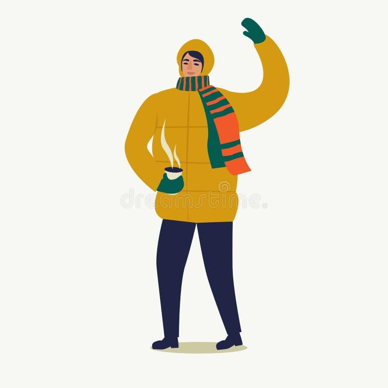 Een mens kleedde zich in een benedenjasjegangen met een kop van koffie Vrolijke Kerstmis en Gelukkig Nieuwjaar De mensen treffen  stock illustratie