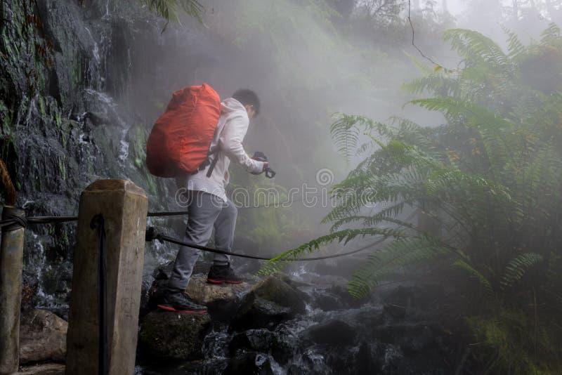 Een mens kruist de weg van een hete de lentestroom in het bos van Gunung Gede Pangrango royalty-vrije stock afbeeldingen