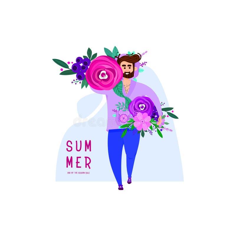 Een mens met een baard draagt heel wat bloemen in zijn handen - een de zomerbanner royalty-vrije illustratie