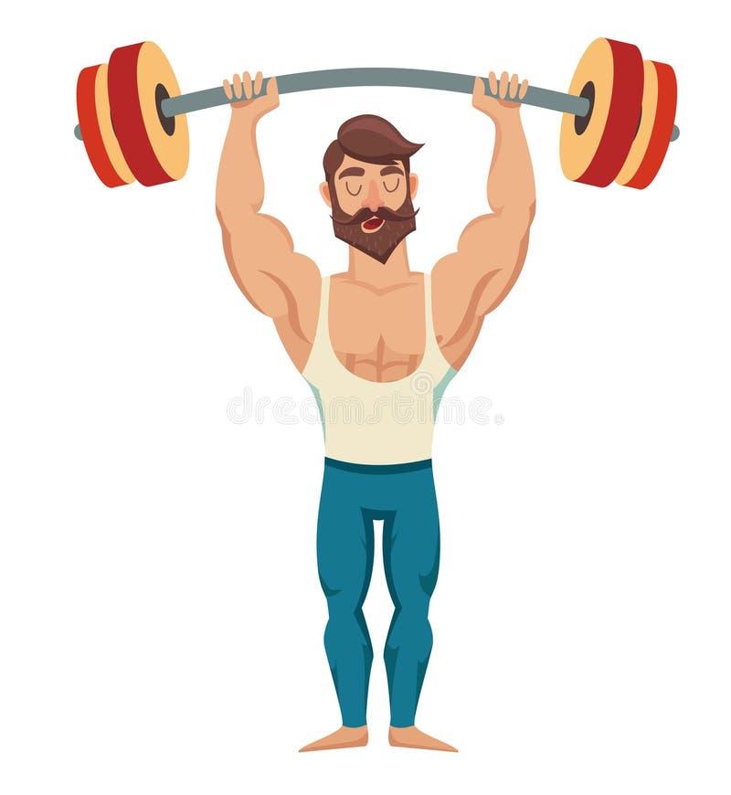 Een mens met een barbell over zijn hoofd Sexy gebaarde, spierjock in jeans Bodybuilding stelt Vector illustratie vector illustratie