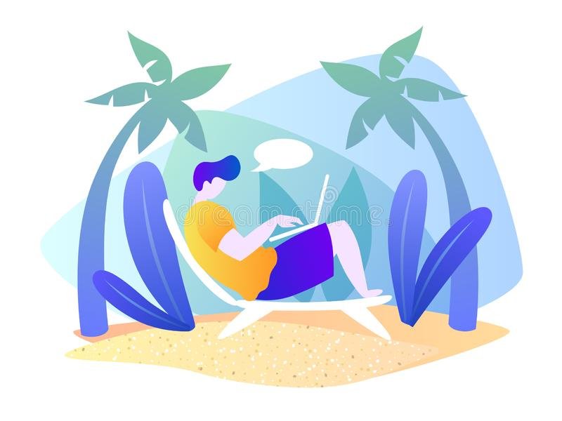 Een mens met laptop rust op een tropisch eiland De vakantie van het strand De vectorillustratie van het de zomerbeeldverhaal Ge?s vector illustratie
