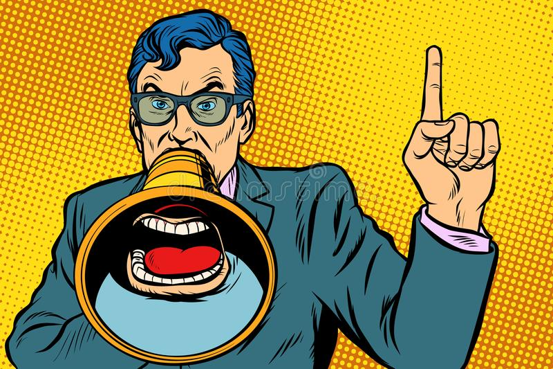 Een mens met een megafoon vector illustratie