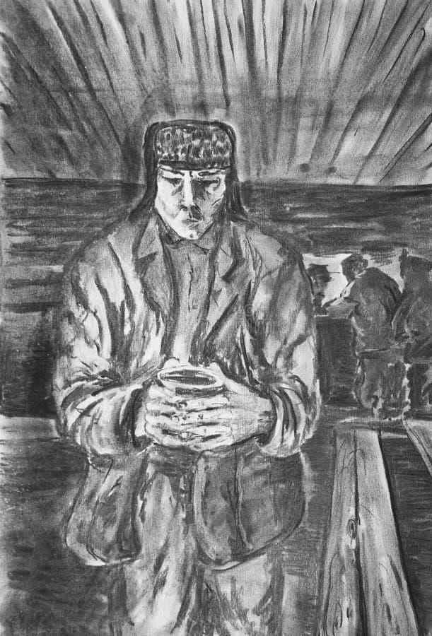 Een mens met een mok stock illustratie