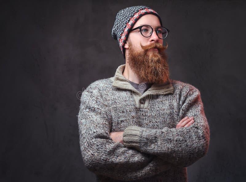 Een mens met rode baard stock fotografie
