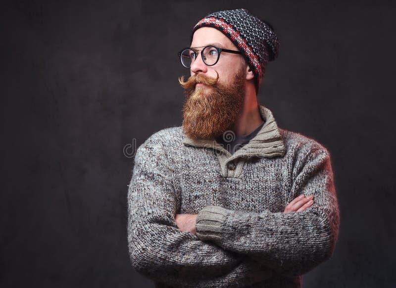 Een mens met rode baard stock afbeelding