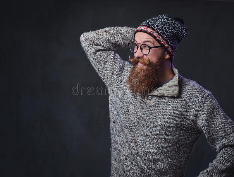 Een mens met rode baard royalty-vrije stock foto's