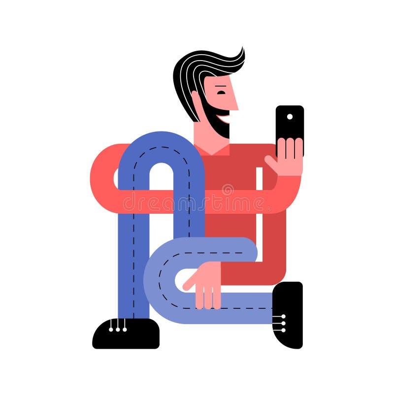 Een mens met een smartphone Een mens neemt een selfie Een mens houdt een smartphone in zijn hand vector illustratie