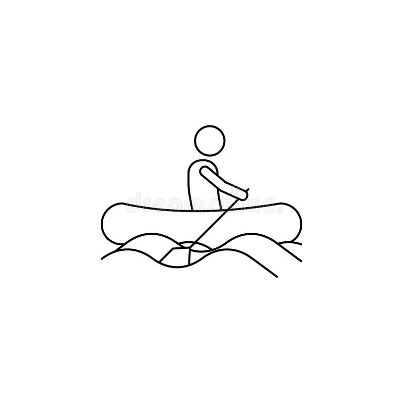 een mens op een opblaasbaar bootpictogram Element van kamperende en openluchtrecreatie voor mobiel concept en Web apps Dun lijnpi stock illustratie