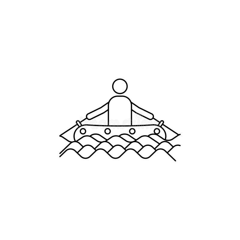een mens op een opblaasbaar bootpictogram Element van kamperende en openluchtrecreatie voor mobiel concept en Web apps Dun lijnpi vector illustratie
