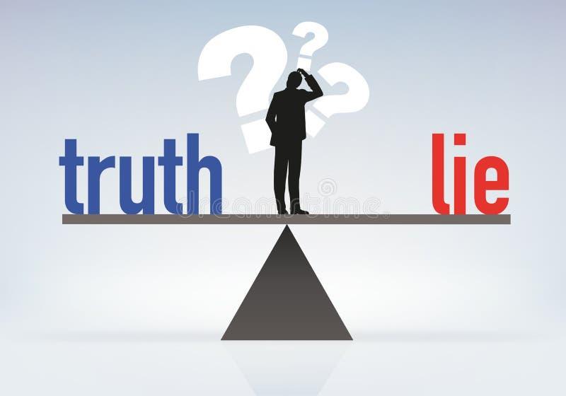 Een mens op een schaal denkt om de waarheid te vinden royalty-vrije illustratie