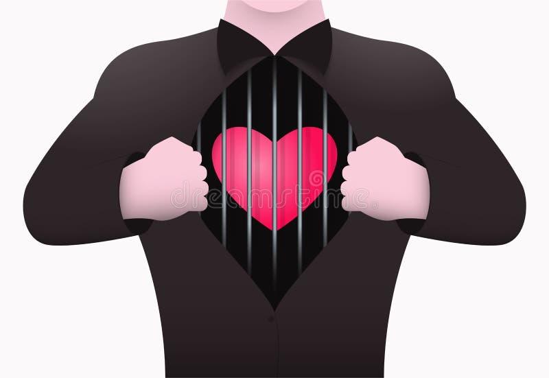 Een mens opent zijn borst die binnen het hart in een kooi tonen Het concept een persoon die zonder liefde leven royalty-vrije illustratie