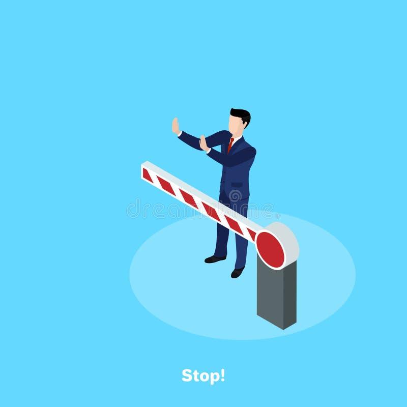 Een mens in een pak bevindt zich achter een barrière stock illustratie