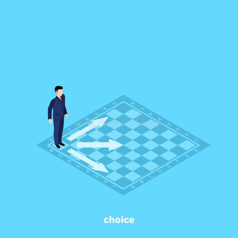 Een mens in een pak bevindt zich op een schaakbord en beslist welke om een beweging te maken royalty-vrije illustratie