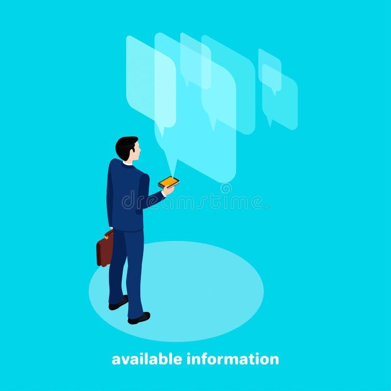 Een mens in een pak die belangrijke informatie van zijn smartphone doorbladeren stock illustratie