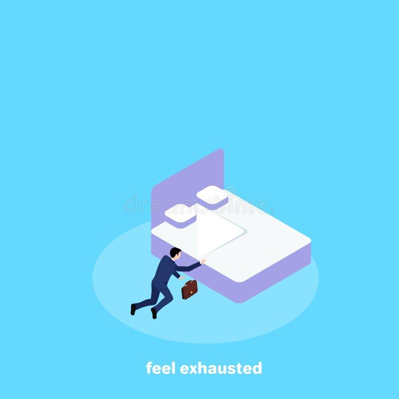 Een mens in een pak kroop nauwelijks aan zijn bed van moeheid stock illustratie