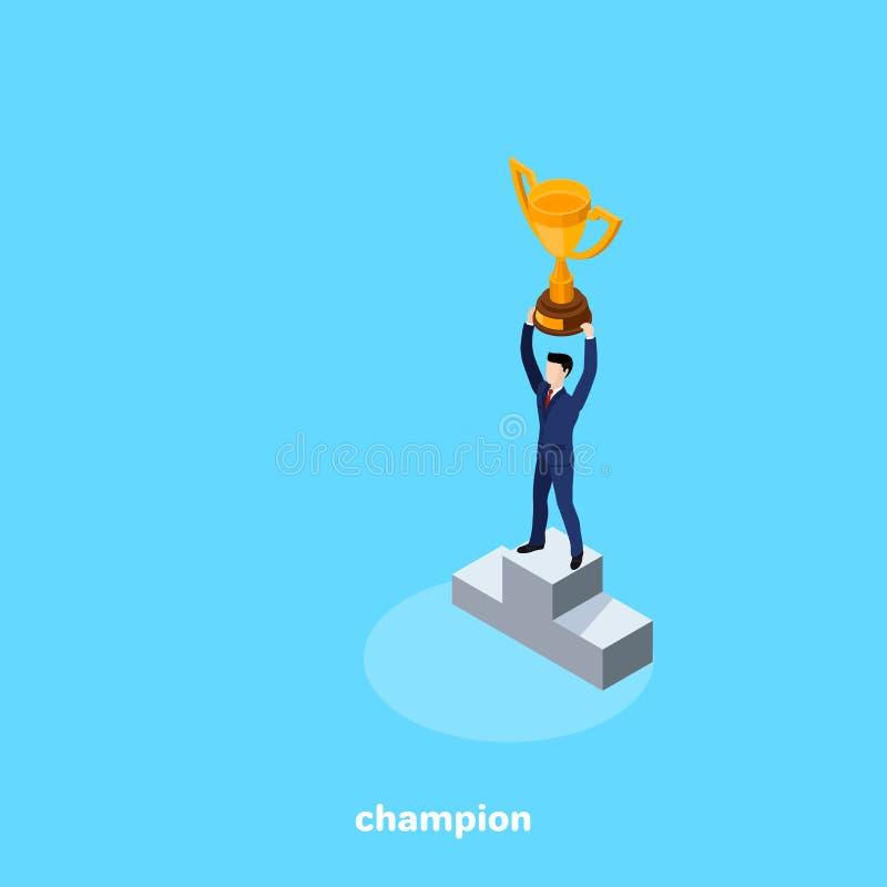 Een mens in een pak met een kop in zijn handen, een kampioen in zaken royalty-vrije illustratie