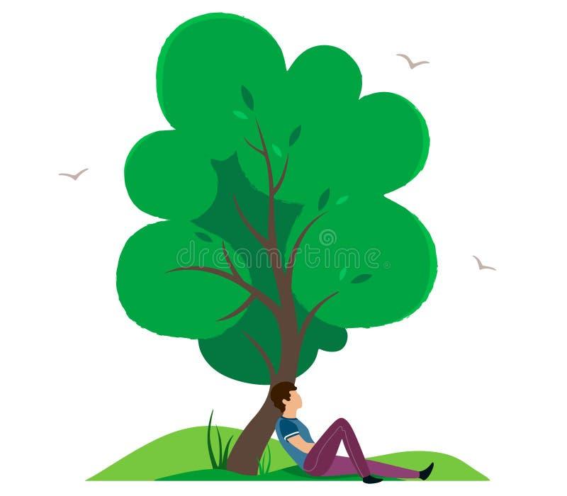 Een mens in een romantische stemming rust onder een grote boom Vectorillustratie in beeldverhaalstijl op een witte achtergrond vector illustratie