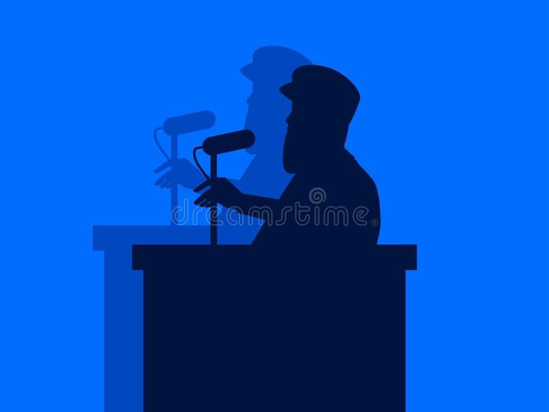 Een mens spreekt in de microfoon van het podium Toespraak door de spreker, militaire dictator stock illustratie