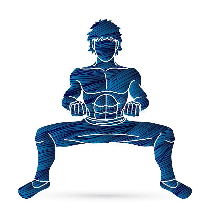 Een Mens stelt Kung Fu-het vechten grafische actie vector illustratie