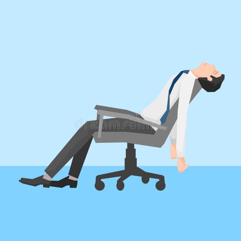 Een mens uitgeput op een stoel stock illustratie