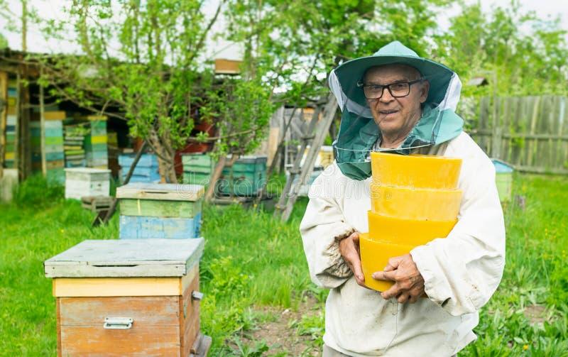 Een mens verouderde imker houdt in zijn handenwas in ronde vormen Het imkerijwerk aangaande de bijenstal Selectieve nadruk stock afbeelding