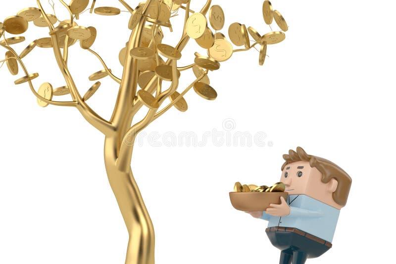 Een mens verzamelt gouden muntstukken onder de gouden boom 3D Illustratie stock illustratie
