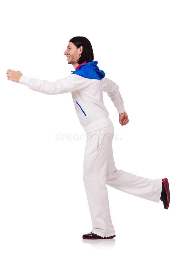 Een mens in witte die sportkleding op het wit wordt geïsoleerd royalty-vrije stock afbeelding