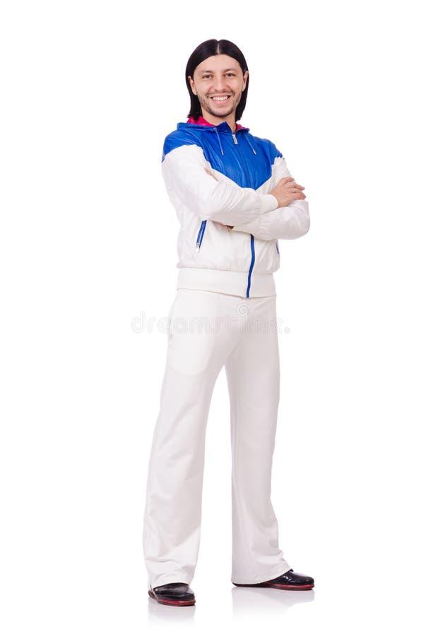 Een mens in witte die sportkleding op het wit wordt geïsoleerd royalty-vrije stock foto's