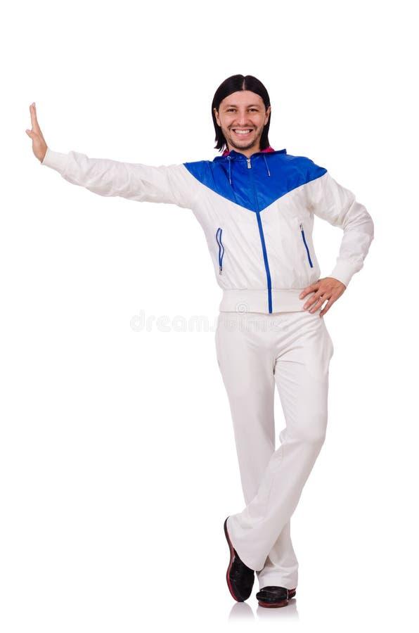 Een mens in witte die sportkleding op het wit wordt geïsoleerd stock fotografie