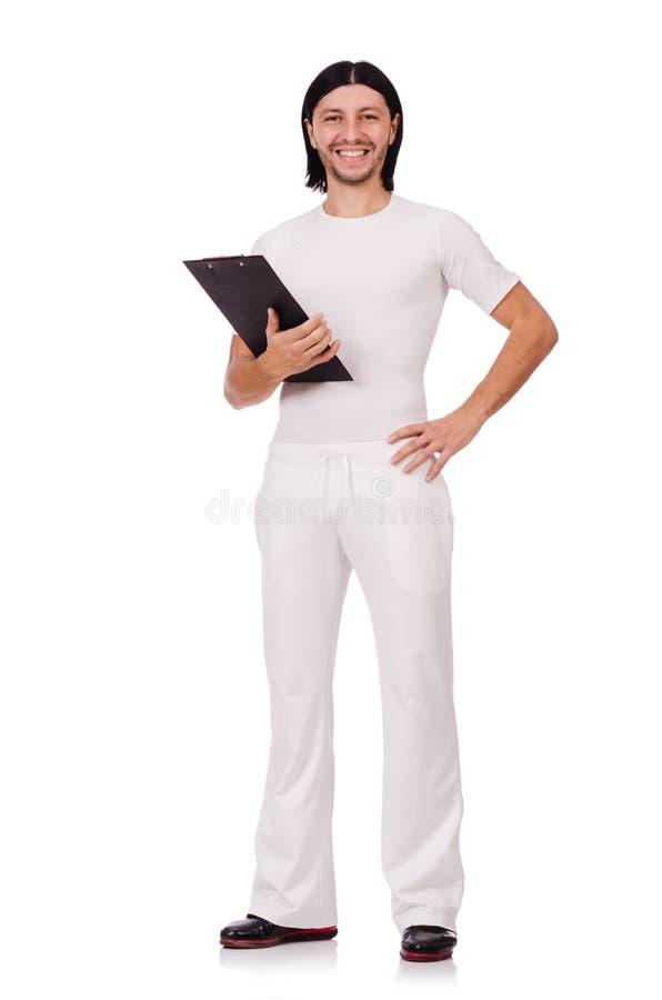 Een mens in witte die sportkleding op wit wordt geïsoleerd royalty-vrije stock afbeeldingen