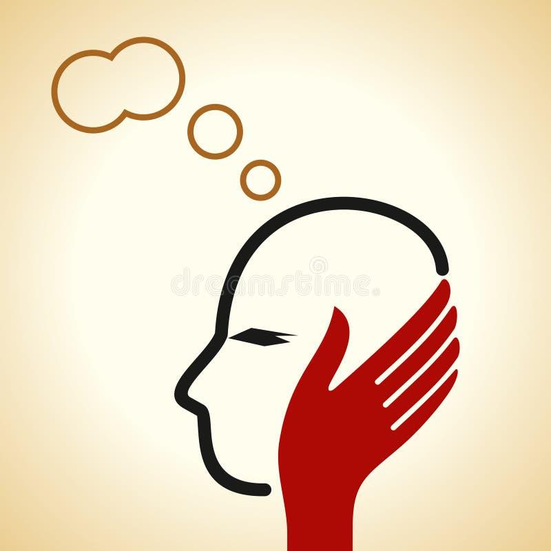 Een menselijk hoofd die denken over vector illustratie