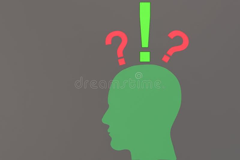 Een menselijk hoofd die een idee vinden royalty-vrije illustratie