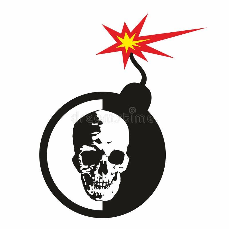 Een menselijke die schedel op een gestileerde bom met een brandende wiek wordt afgeschilderd vector illustratie