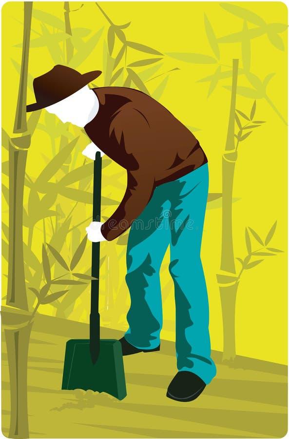 Een mensen gravende aarde stock illustratie