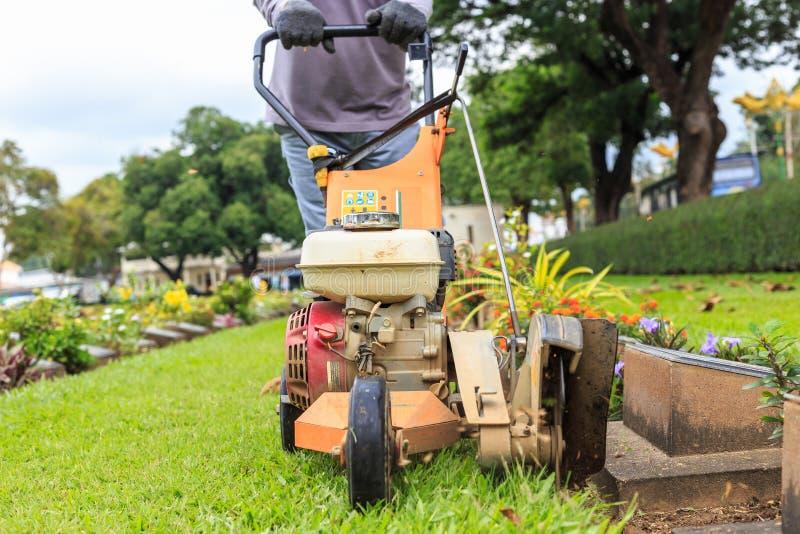 Een mensen maaiend gras in de openbare tuin het openlucht werken stock foto
