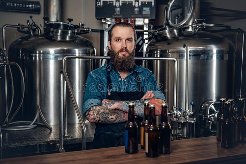 Een mensenfabrikant die bier in microbrewery voorstellen stock fotografie