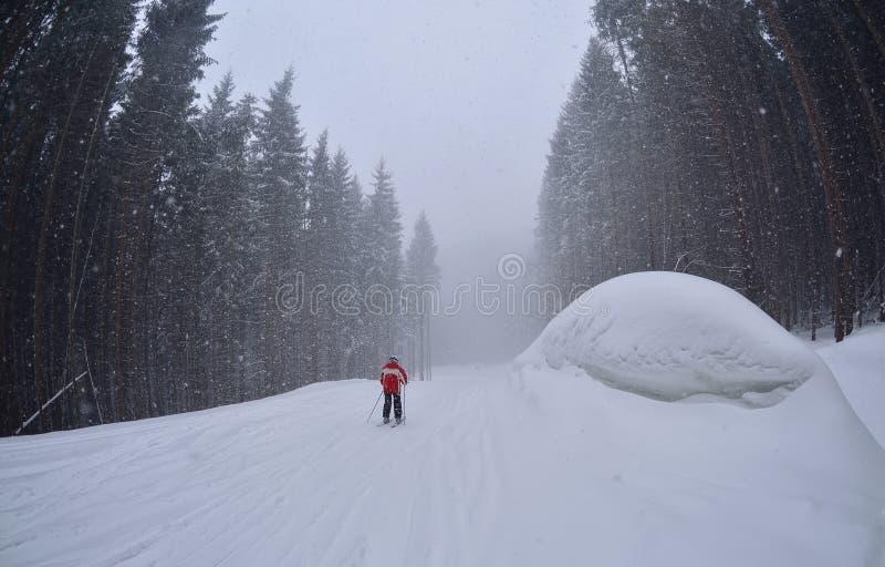Een mensenski op de bossleep, Bukovel stock foto